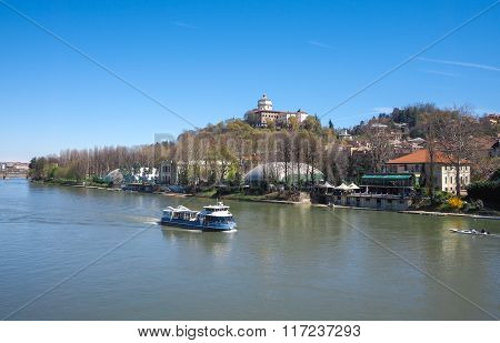 Tourist Boat On Po River In Turin