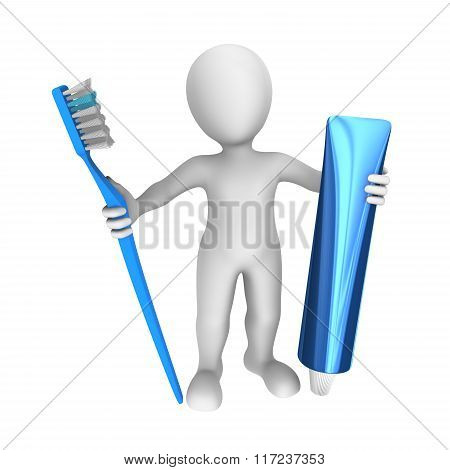 3D Man With Toothbrush And Toothpaste