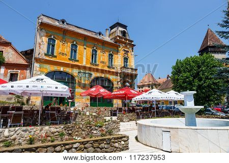 Medias, Romania, 08 July 2015: Historical Centre Of Medias, Medieval City In Transylvania, Romania