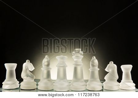 Chess face to face, first step. Copy space for text