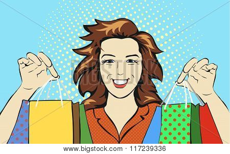 Woman with a shopping bag discounts pop art retro style. Holiday sale stores or malls.