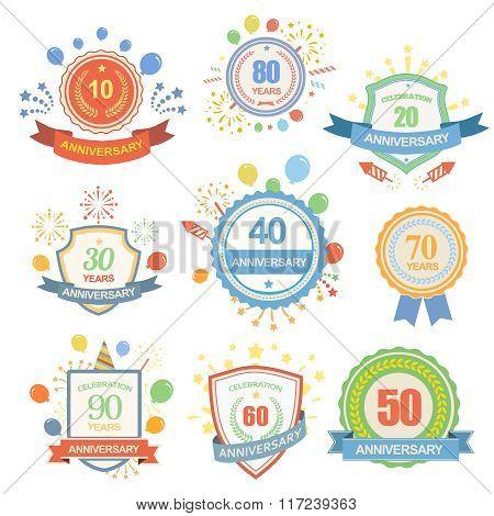Anniversary celebration emblems set with ribbons isolated illustration