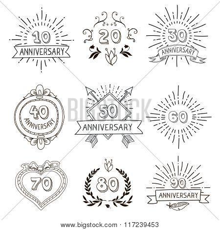 Anniversary birthdays festive emblems icons set  hipster hand drawn  illustration