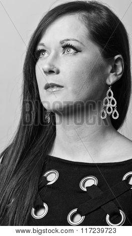 Portrait Of Beautiful Woman. Beautiful Woman With Evening Make-up. Black And White. Fashion Photo