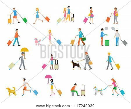 Travelers with suitcases on white background.