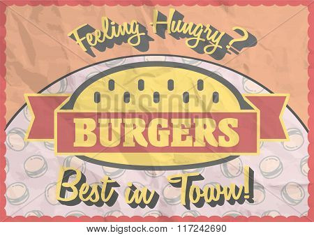Vintage Burger Poster, Brochure Or Flyer Design