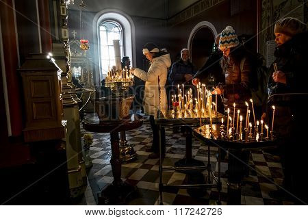 The Feast Of The Nativity In The Cathedral Of Alexander Nevsky In Tallinn . Estonia.