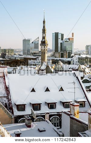 View Of The Roofs Of The Old Town Of Tallinn In Winter. Estonia
