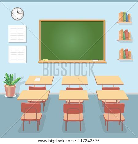 School classroom with chalkboard and desks. Class for education, courses or training