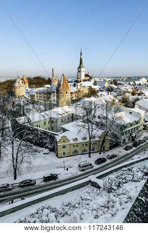 View Of The Ramparts And The Cathedral Of St. Olaf In The Old Tallinn. Estonia