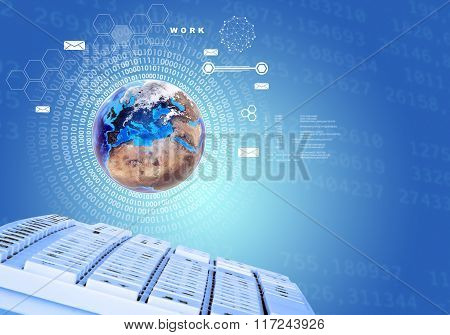 Earth with keyboard