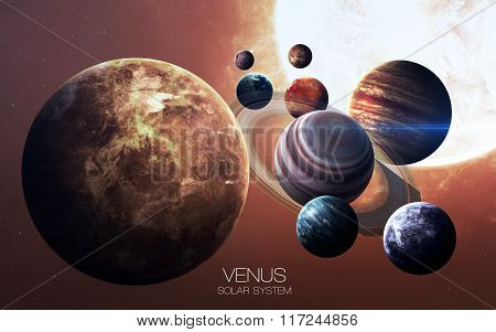 Venus - High resolution images presents planets of the solar system. This image elements furnished b