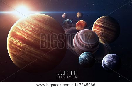 Jupiter - High resolution images presents planets of the solar system. This image elements furnished