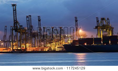 Cranes loading containers