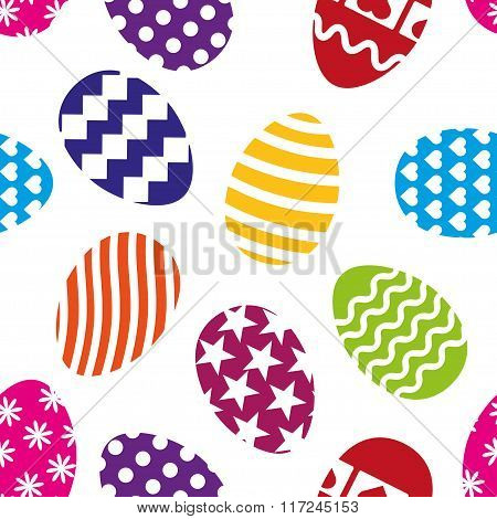 Easter Eggs Seamless Pattern On A White Background