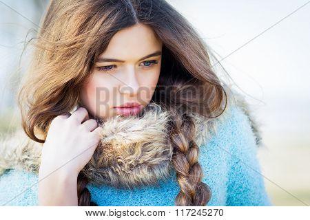 Closeup of gorgeous teeenage girl with long hair