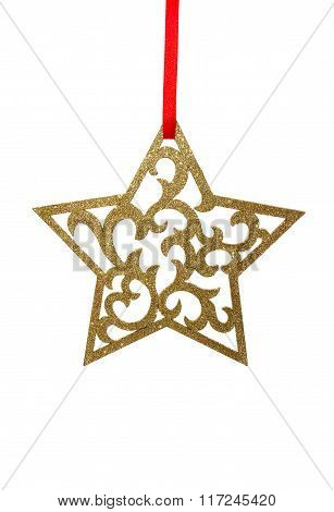 Shiny Golden Christmas Star Isolated On White