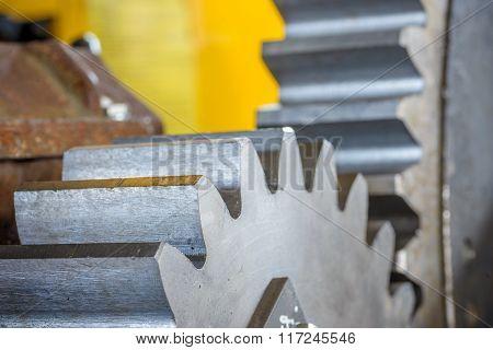 Close-up of metal gear