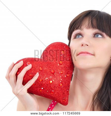 Romantic Portrait Of A Beautiful Young Woman With Big Red Heart