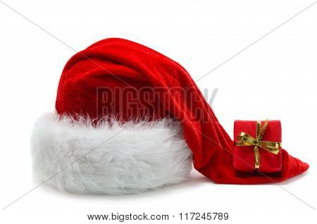 Red Santa Claus' Hat With Beautifully Wrapped Present
