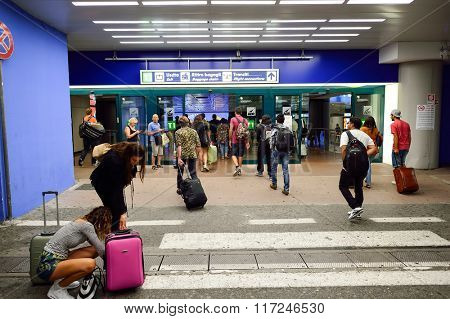 ROME, ITALY - AUGUST 16, 2015: Fiumicino Airport entrance. Fiumicino - Leonardo da Vinci International Airport is a major international airport in Rome, Italy
