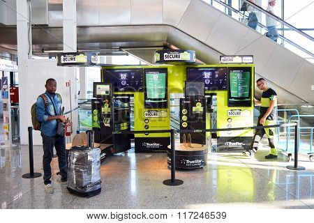 ROME, ITALY - AUGUST 16, 2015: protect bug service in Fiumicino Airport. Fiumicino - Leonardo da Vinci International Airport is a major international airport in Rome, Italy