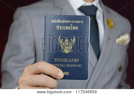 Businessman Showing Passport, Travel Aboard, Business Trip