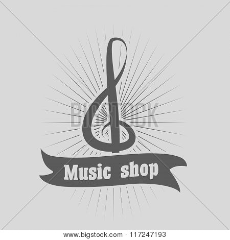 Music Shop Logo, Label Or Badge Vector Design Template