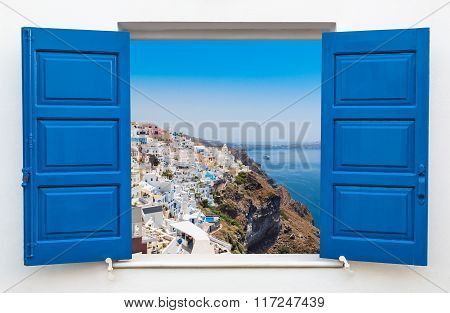 Window With View Over The Village Of Oia At The Island Santorini