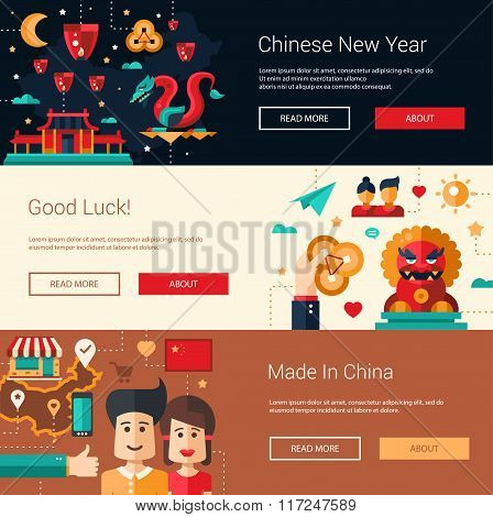 Flat design China banners set with icons, famous Chinese symbols