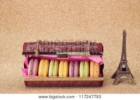 Macarons,fashion handbag,gold.Eiffel Tower.Vintage
