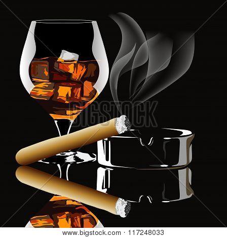 Cognac and cigar with smoke