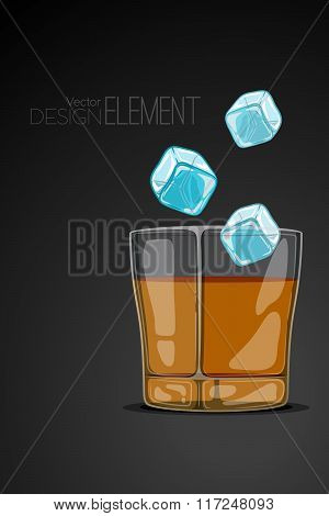 Glass Of Whiskey On Abstract Black Background With Flying Ice Cubes. Strict Artsy Style. Colored Car