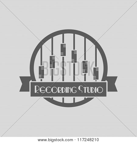 Vector Recording Studio Logo. Music Icons For Audio Store, Recording Studio Label, Podcast And Radio