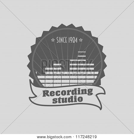 Recording Studio Logo, Badge Or Label Template. Music Icon For Audio Recording, Branding And Identit