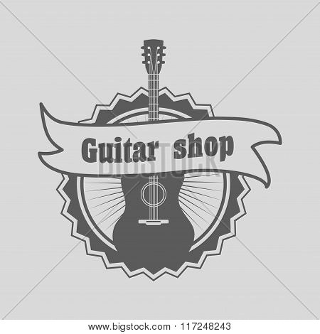 Retro Styled Guitar Shop Logo, Badge Or Label Template. Music Icon For Audio Store, Branding And Ide