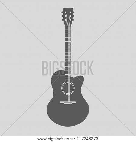 Vector Acoustic Guitar Icon. Gray Sign With Guitar Silhouette On Light Background