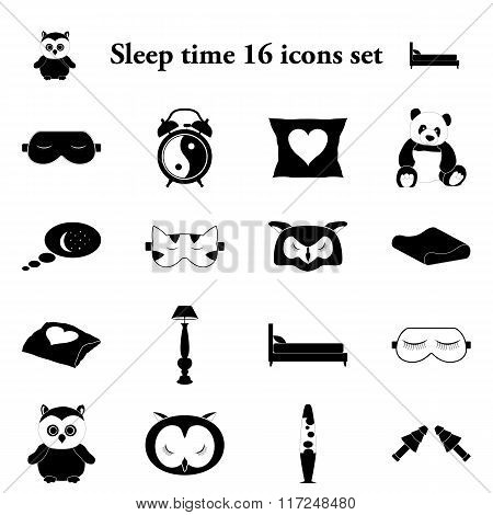 Sleep time 16 simple icons set