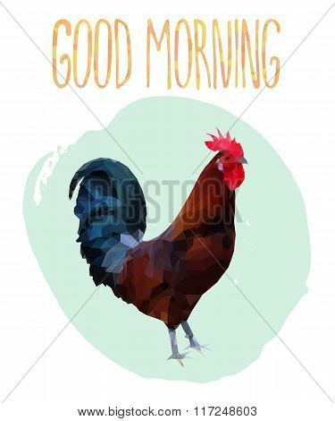 Polygonal illustration of rooster with lettering