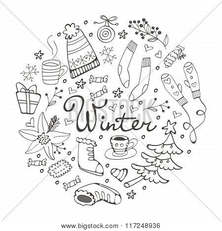Colorful hand drawn winter collection in round composition