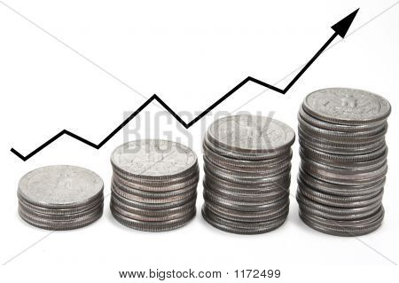 Up Arrow Over Stacks Of Coins
