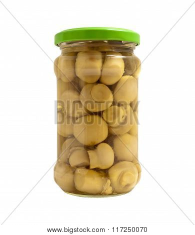 Champignons Marinated In  Jar Isolated.