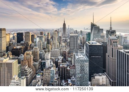 New York City, USA midtown Manhattan financial district skyline.