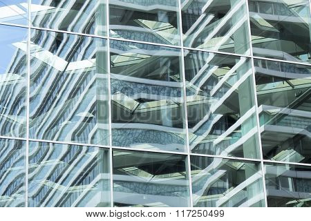 Glass Facade Of The Central Station In The Hague.