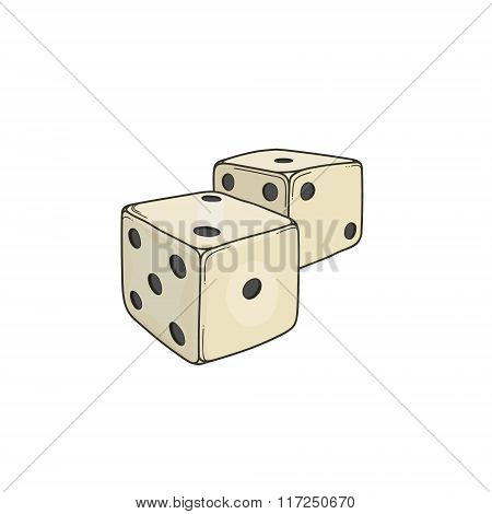Two colored cartoon-style dice cubes