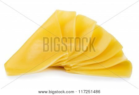 Cheese Slices Close-up Isolated On A White Background.