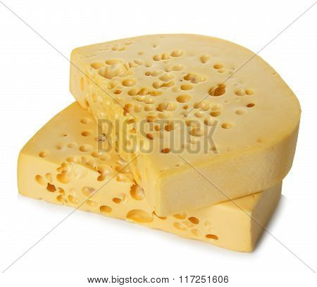 Cheese close-up isolated on a white background.