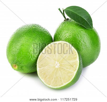 Lime. Whole Lime With Slices Isolated On White Background.
