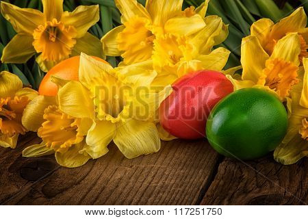 Easter Decoration daffodil flowers with Easter egg