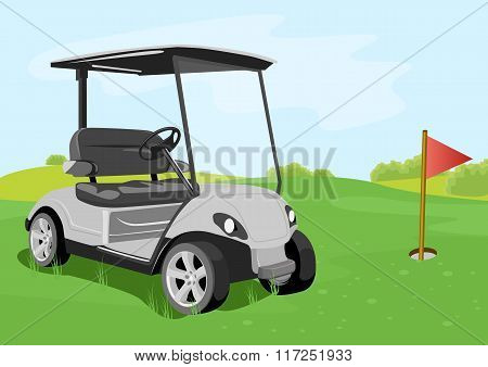 golf cart and flag on a golf course